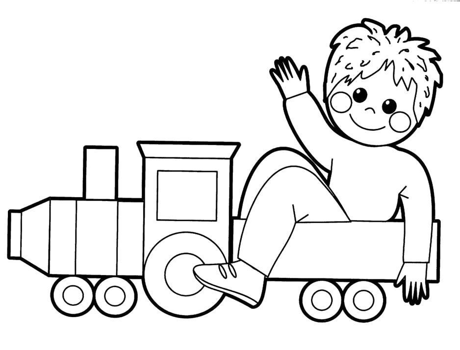 Раскраска Малыш в паровозике. Скачать .  Распечатать