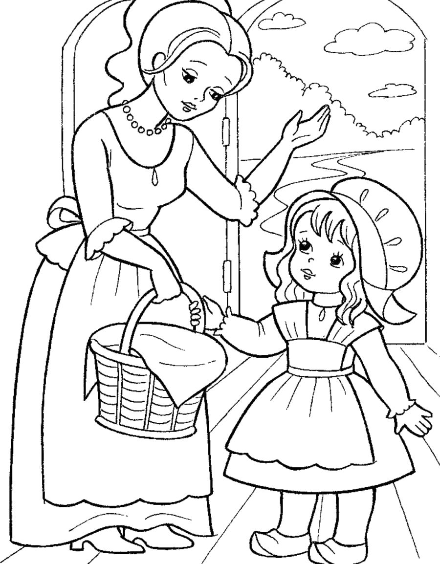 Раскраска Красная Шапочка и мама с пирожками -. Скачать красная шапочка.  Распечатать сказки