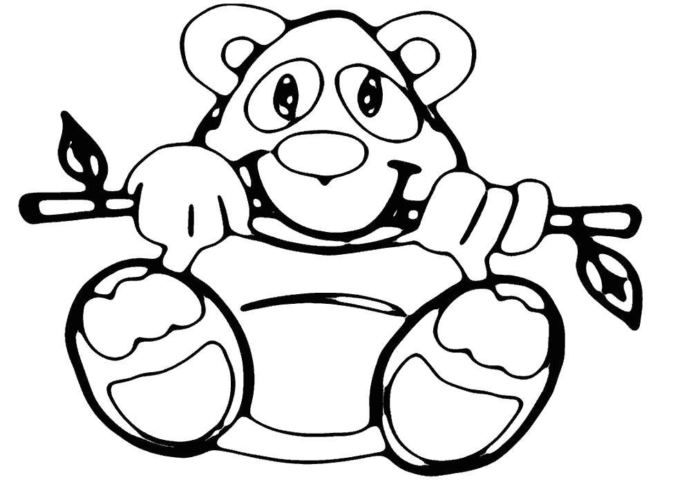 Раскраска Панда играется с веточкой. Скачать Панда.  Распечатать Дикие животные
