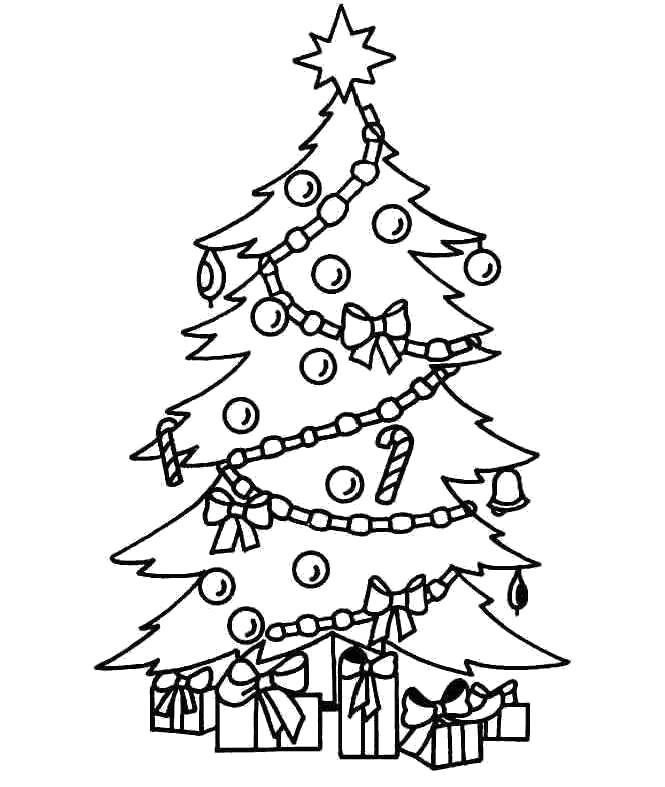 Раскраска Новогодняя елка с подарками.. Скачать Елка.  Распечатать Новый год