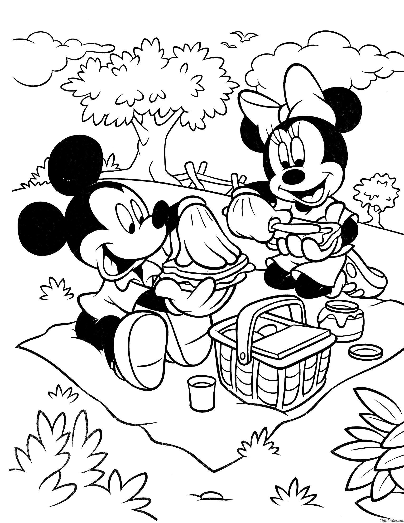 Раскраска Микки и Минни на пикнике. Скачать .  Распечатать