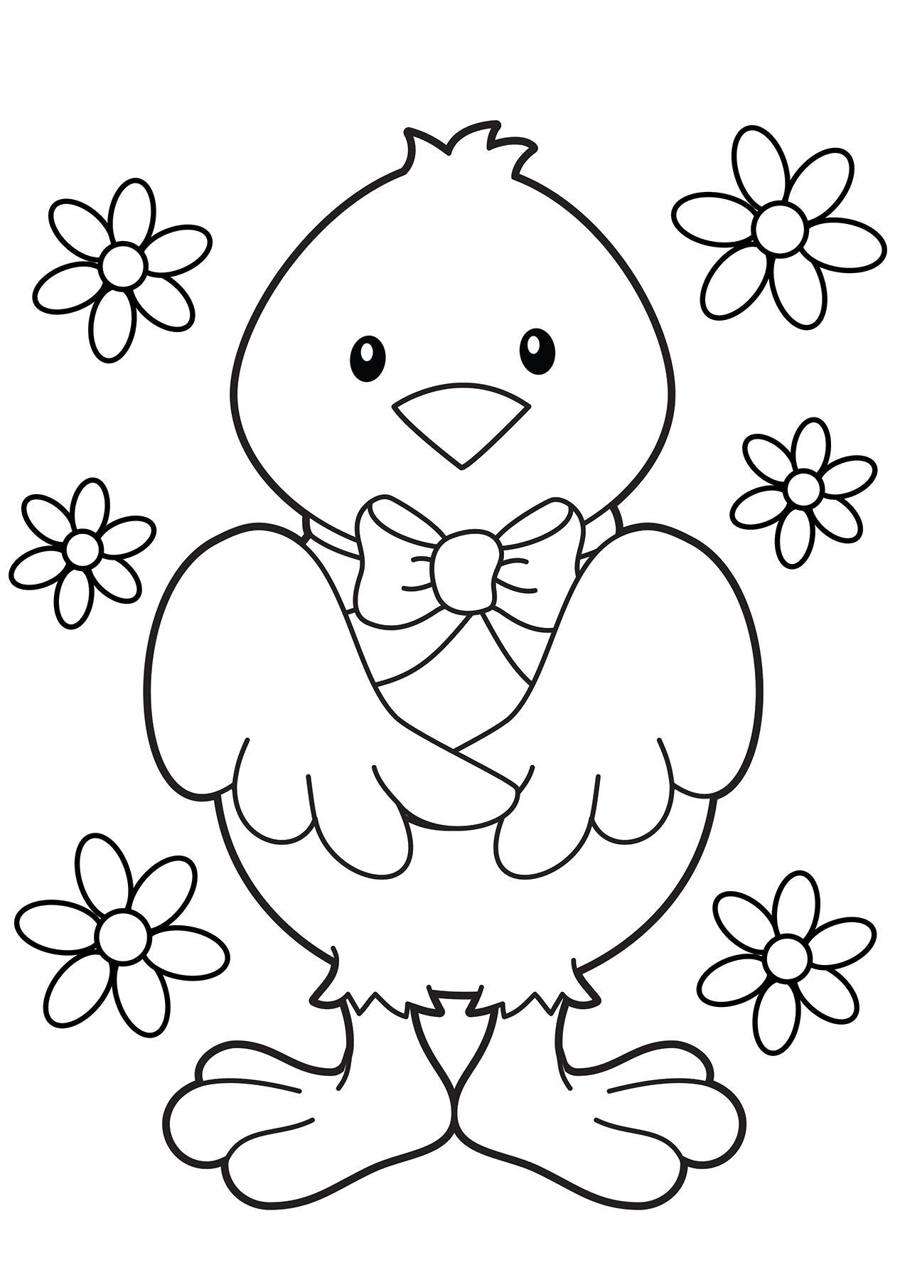 Раскраска цыплёнок. Скачать Цыпленок.  Распечатать Цыпленок