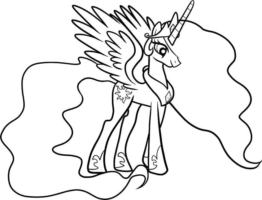 Раскраска Пони-пегас. Скачать .  Распечатать