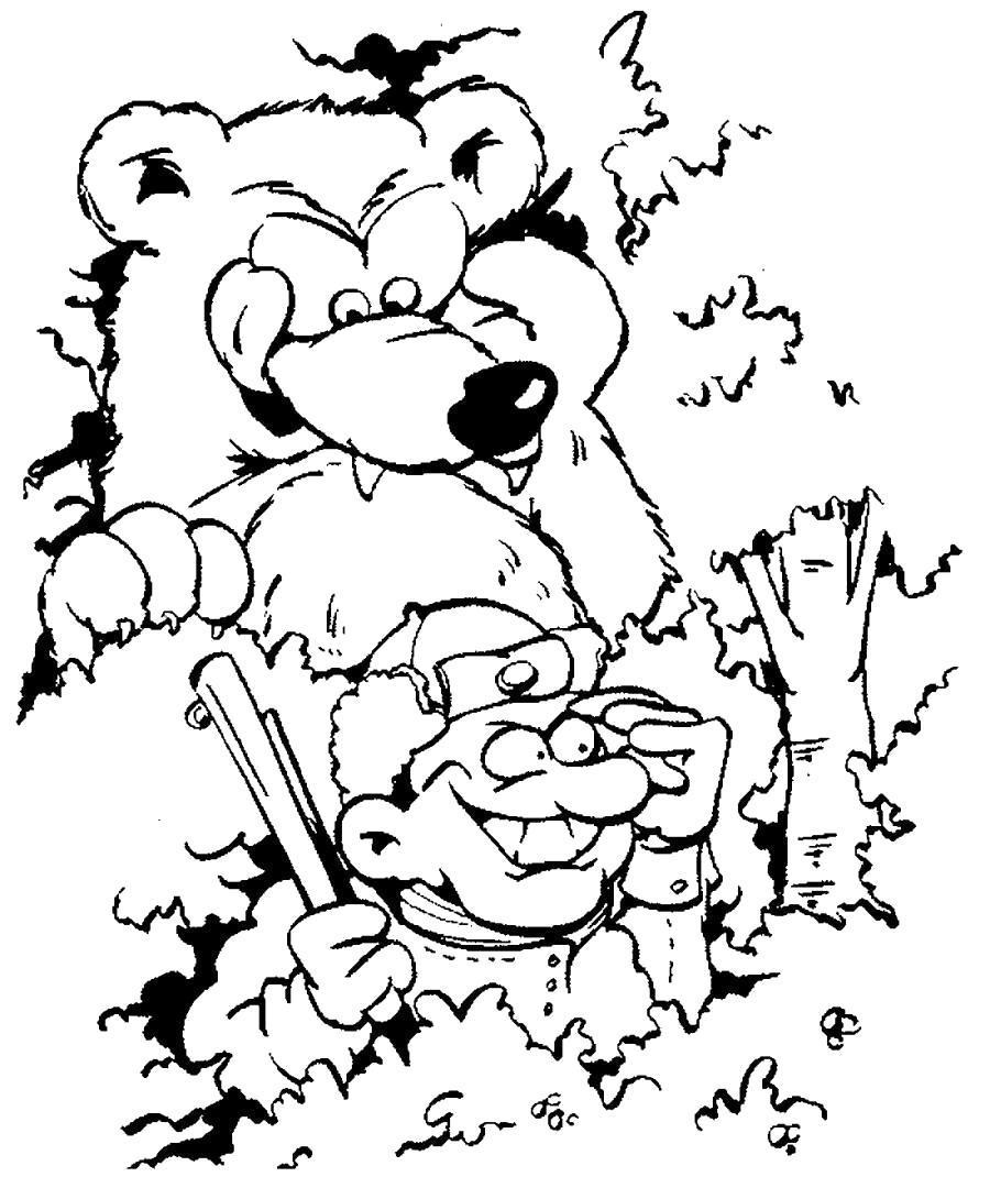 Раскраска Охотник и медведь. Скачать .  Распечатать