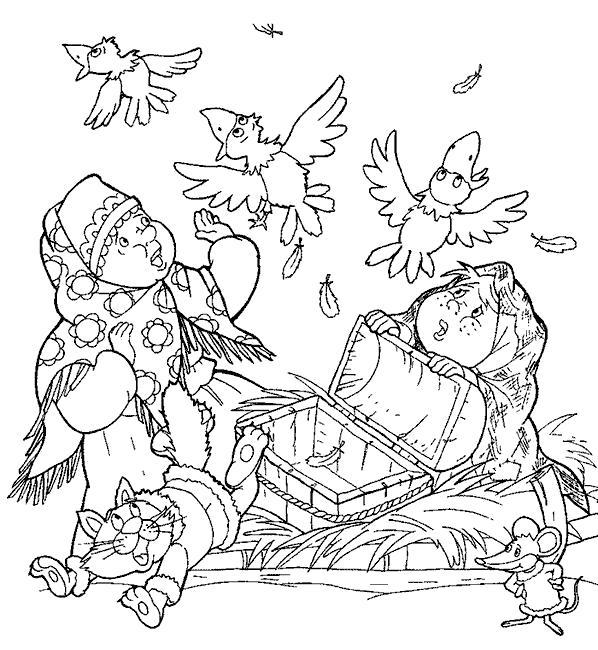 Раскраска   к сказке морозко мачеха с дочкой, сундук, вороны, морозко. Скачать морозко.  Распечатать сказки
