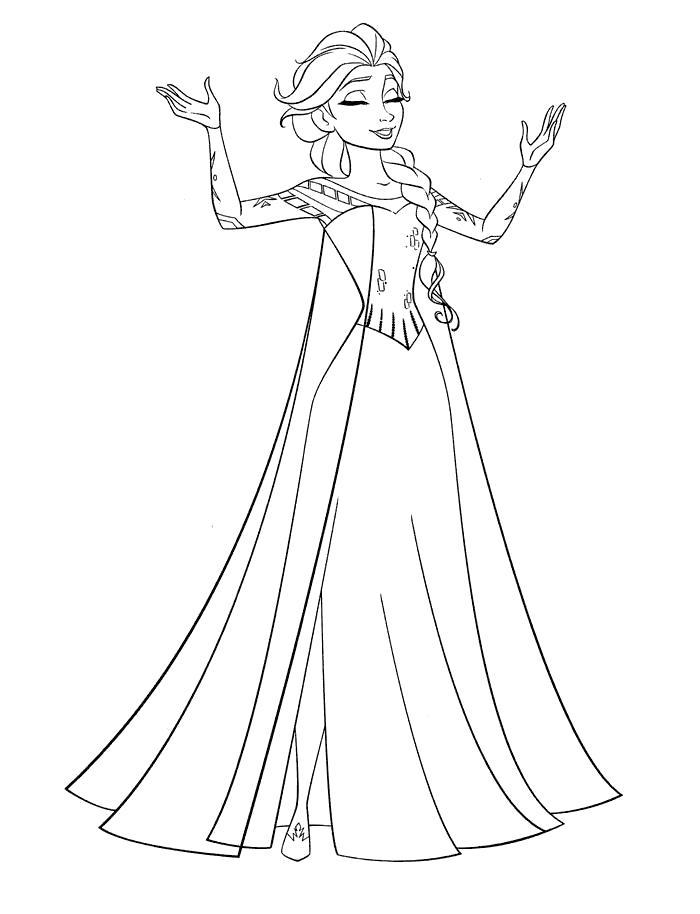 Раскраска принцесса Эльза. Скачать принцесса.  Распечатать принцесса