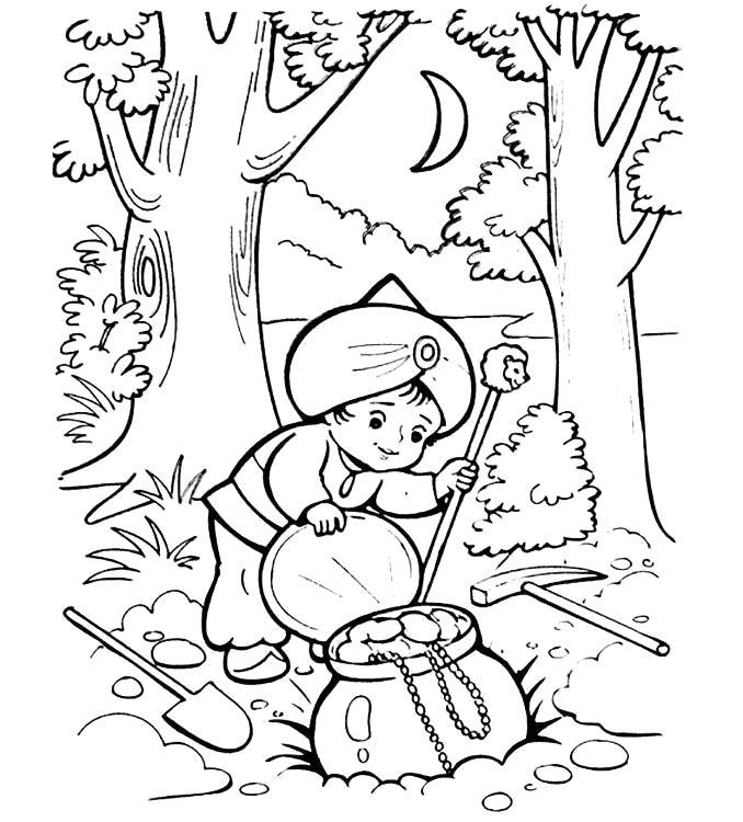 Раскраска Маленький Мук нашёл клад. Скачать маленький Мук.  Распечатать маленький Мук