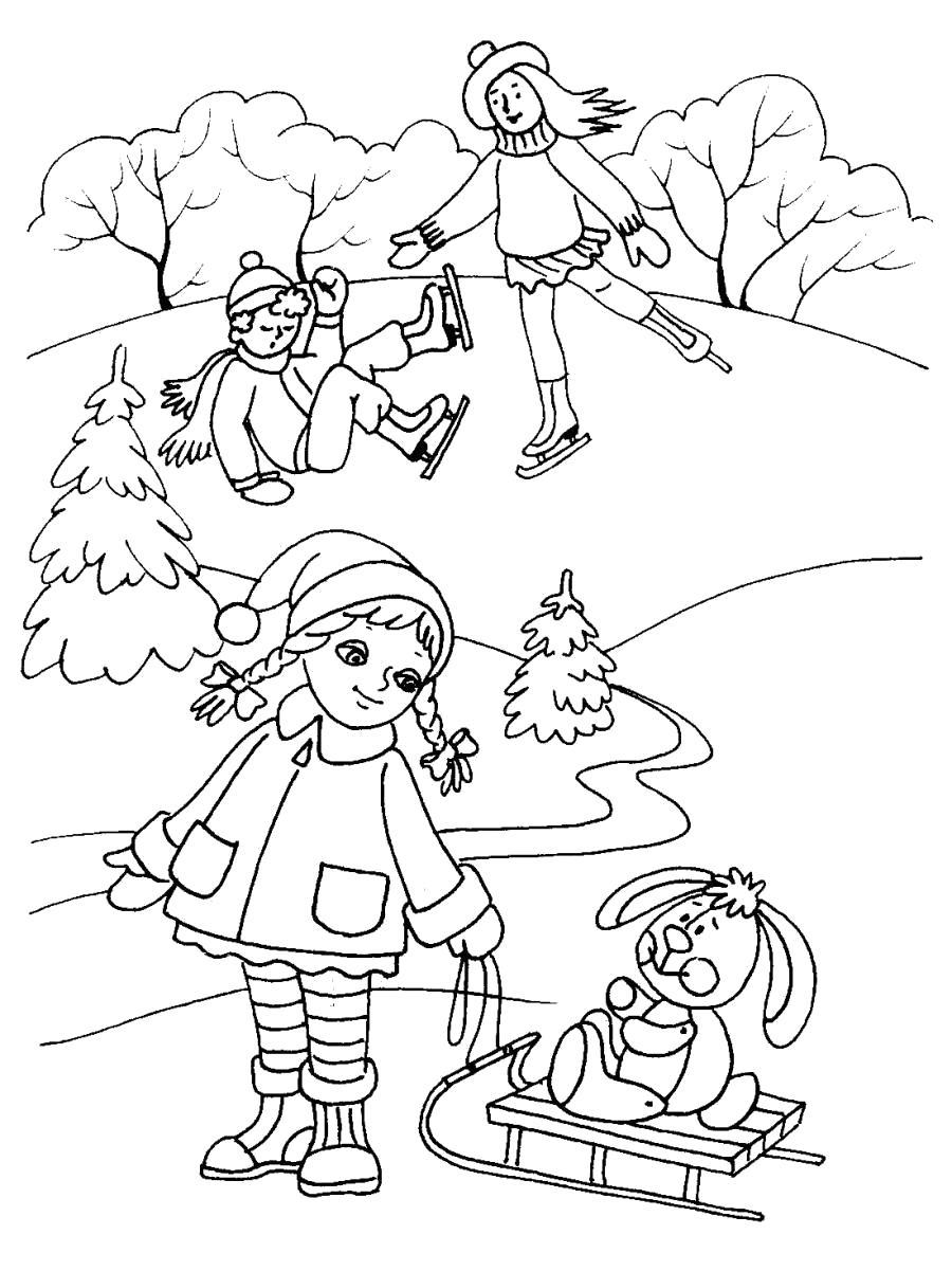 Раскраска Природа зимой и дети, Девочка катает на санках игрушку, снег, мальчик и девочка катаются на коньках. Скачать природа.  Распечатать природа