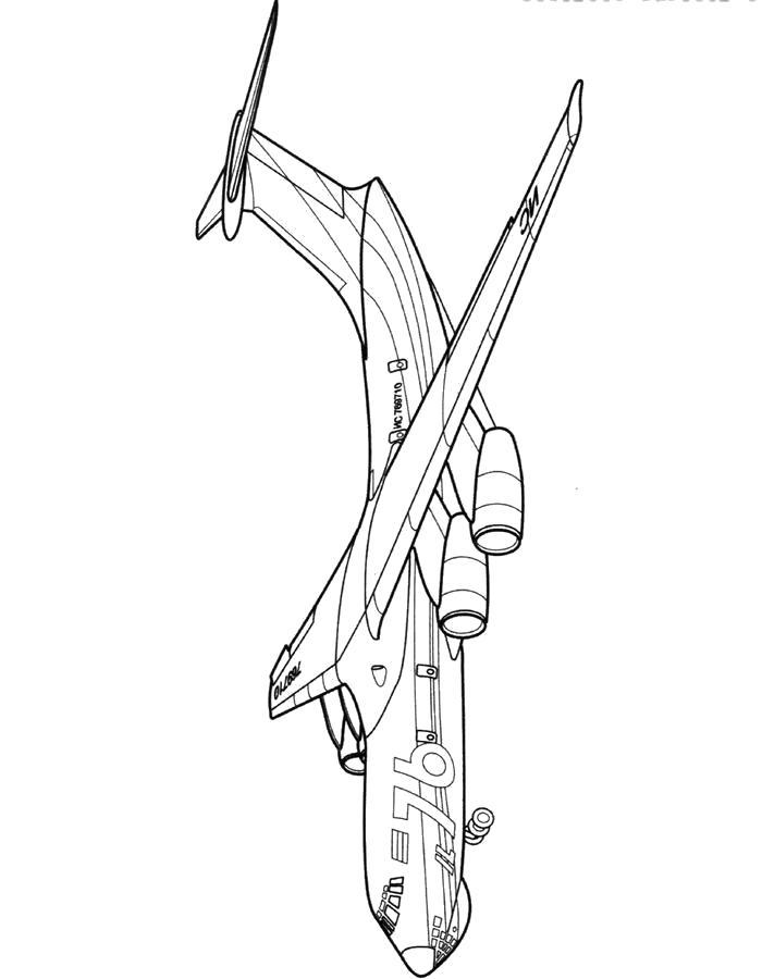Раскраска Самолёт ИЛ-76. Скачать самолет.  Распечатать самолет