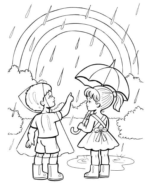 Раскраска мальчик показывает девочке радугу, на улице идет дождь. Скачать Лето.  Распечатать Лето