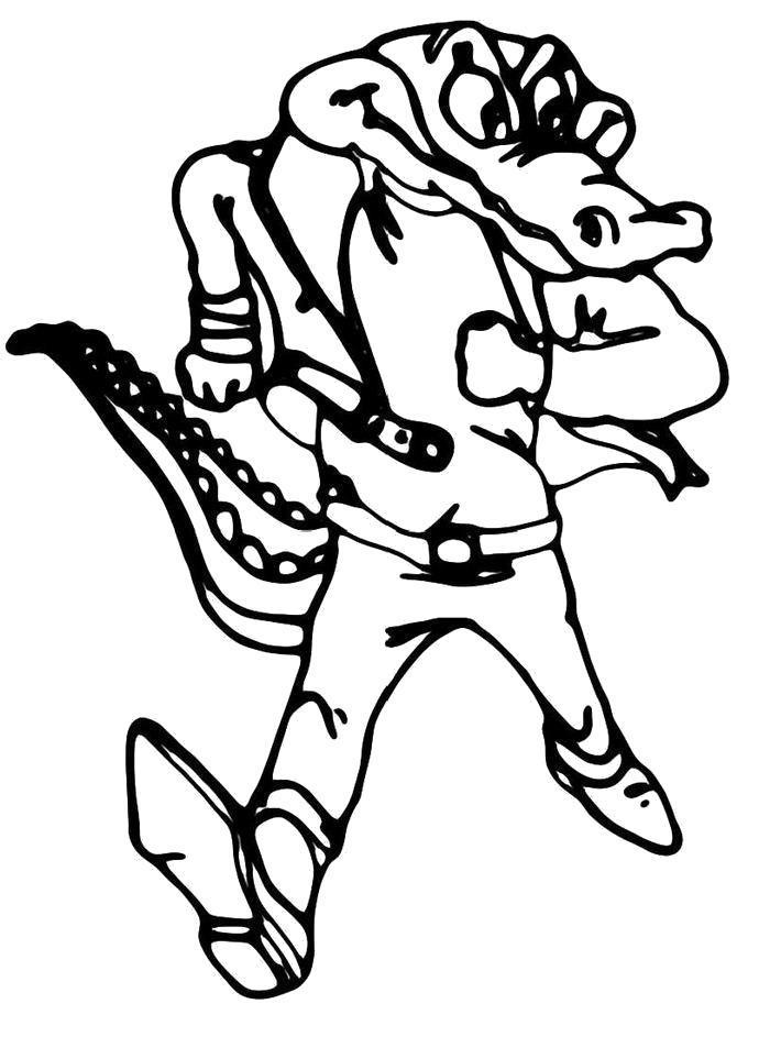 Раскраска Крутой крокодил. Скачать .  Распечатать