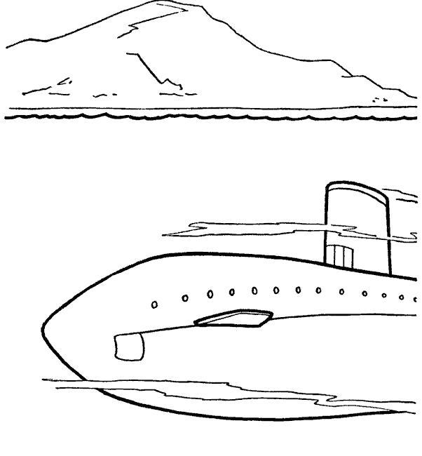 Раскраска Лодка под водой. Скачать Подводная лодка.  Распечатать Подводная лодка