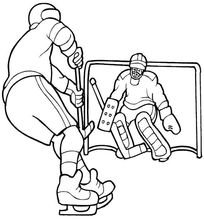 Название: Раскраска игрок забирает шайбу, спорт, спортивная игра, Вратарь у ворот. Категория: Хоккей. Теги: Хоккей.
