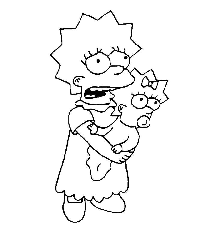 Раскраска Лиза держит Мэгги. Скачать Симпсоны.  Распечатать Симпсоны