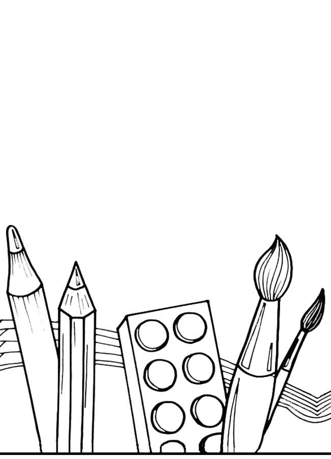Раскраска Школьные принадлежности. Скачать 1 сентября.  Распечатать 1 сентября