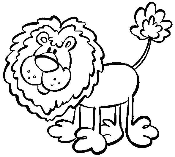Раскраска Смешной лев. Скачать .  Распечатать