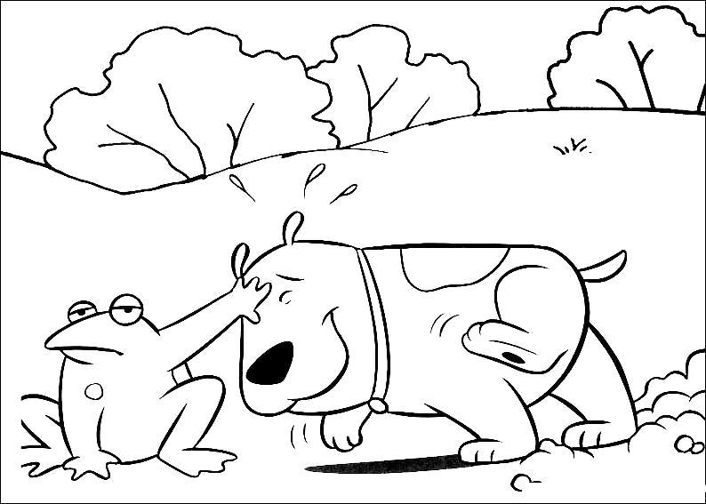 Раскраска лягушка и собака. Скачать лягушка.  Распечатать лягушка