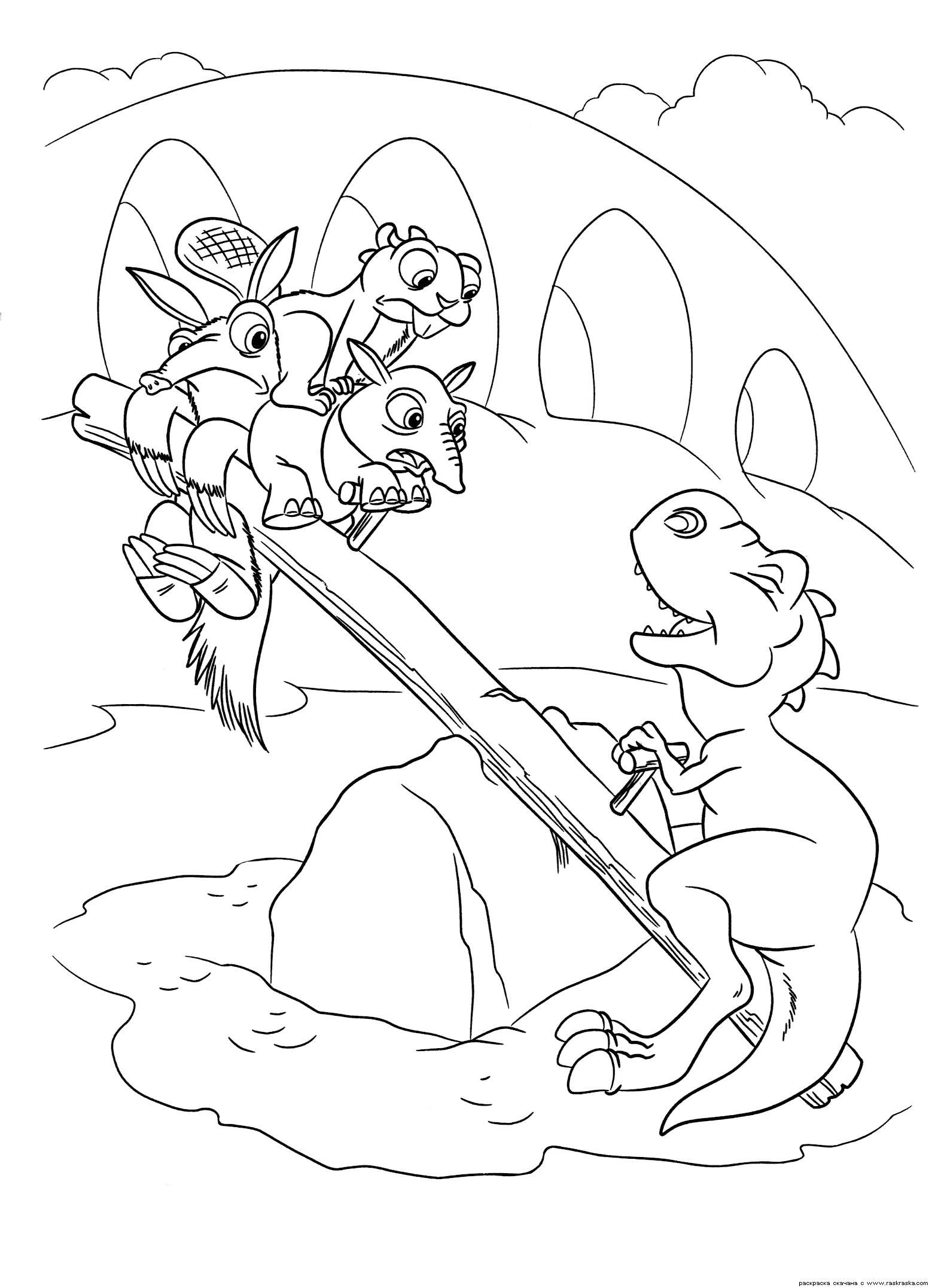 Раскраска  Качели.  Динозаврики не проч закусить чужими детьми, картинки из мультика Ледниковый период 3: Эра динозавров скачать бесплатно  для ребенка. Скачать динозавр.  Распечатать динозавр