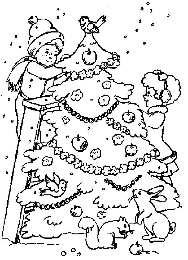 Раскраска Дети украшают елку. Рядом с елкой зайцы и белка. . Скачать Елка.  Распечатать Новый год