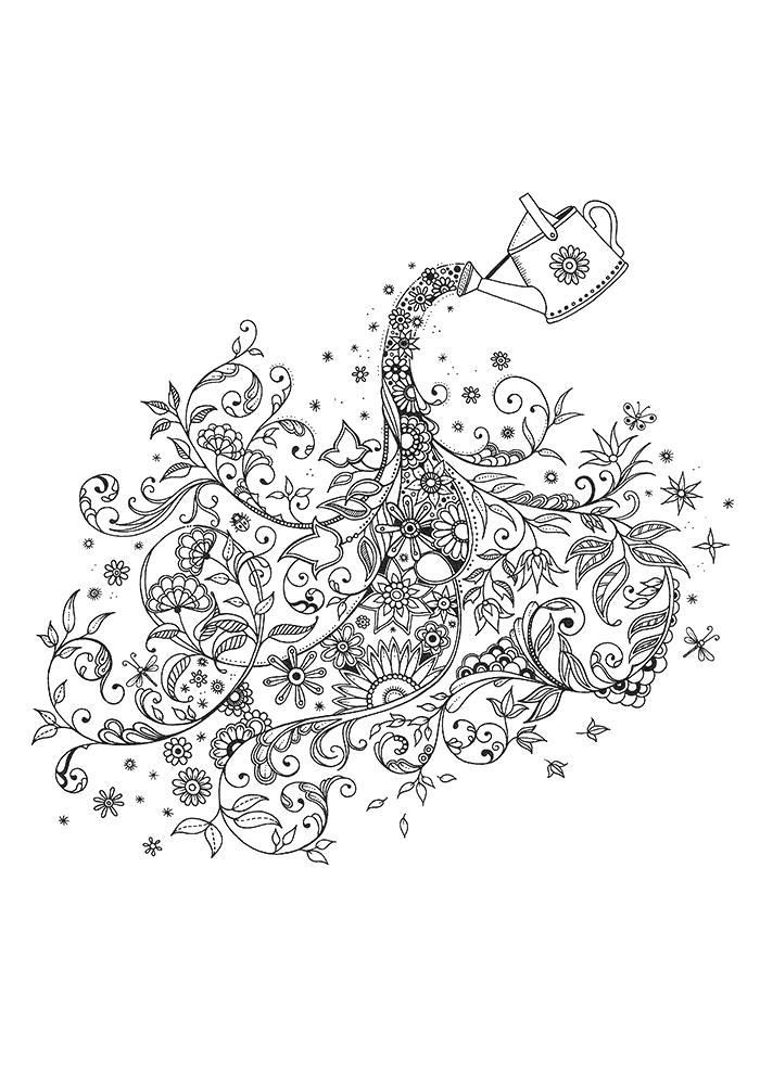 Раскраска Взрослые  антистресс распечатать. Скачать цветы, узоры.  Распечатать антистресс