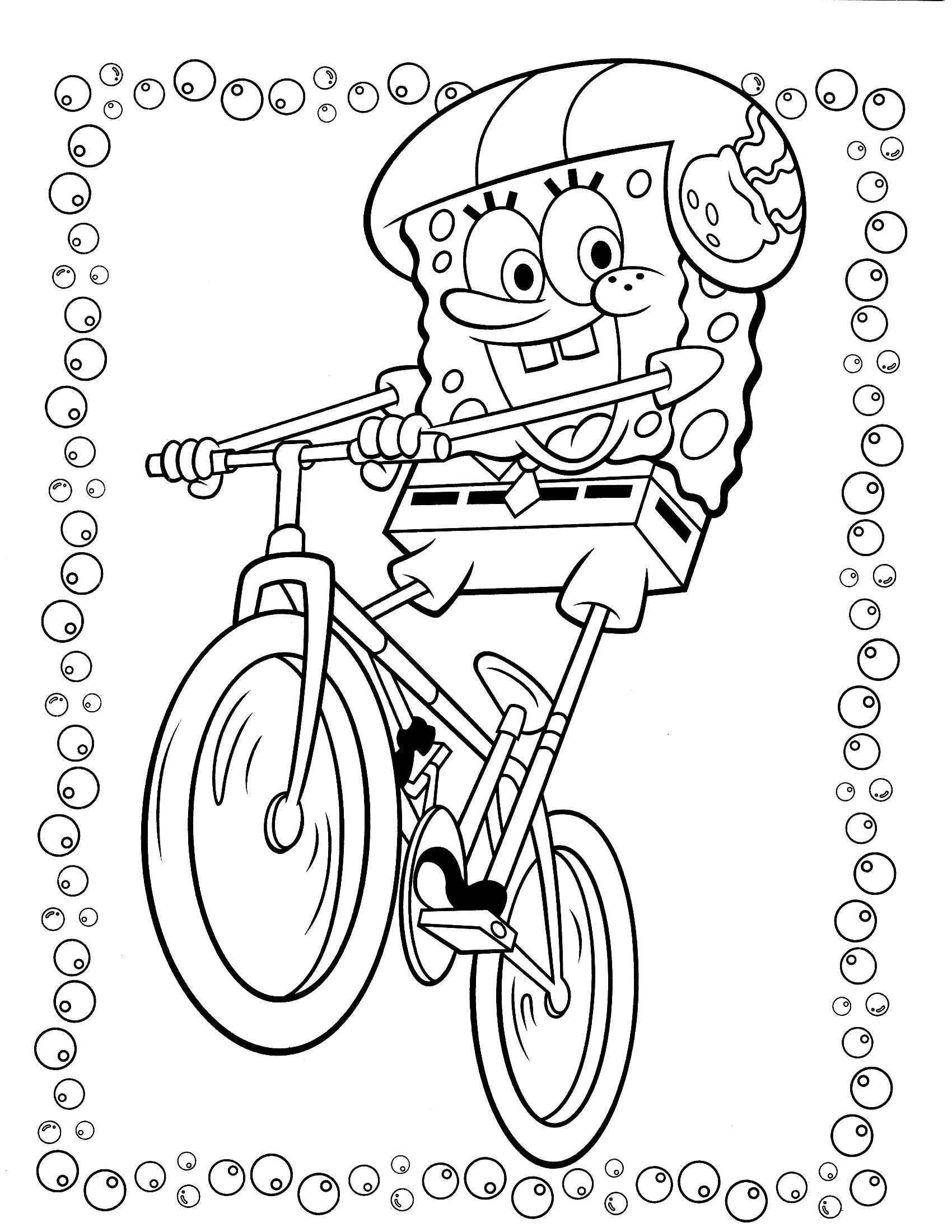 Раскраска Губка Боб на велосипеде. Скачать Спанч боб.  Распечатать Спанч боб