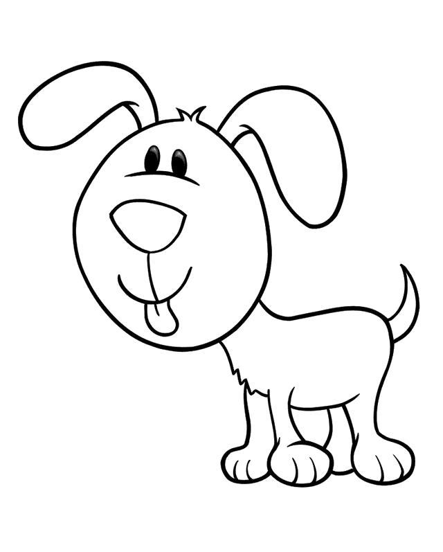 Раскраска Счастливая собака. Скачать Собака.  Распечатать Домашние животные