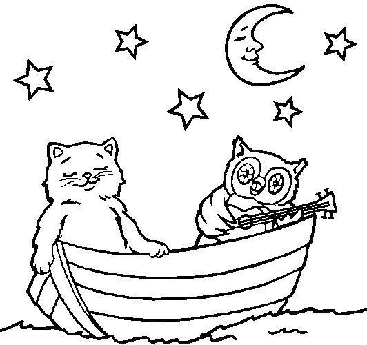 Раскраска Кот и сова в лодке. Скачать .  Распечатать