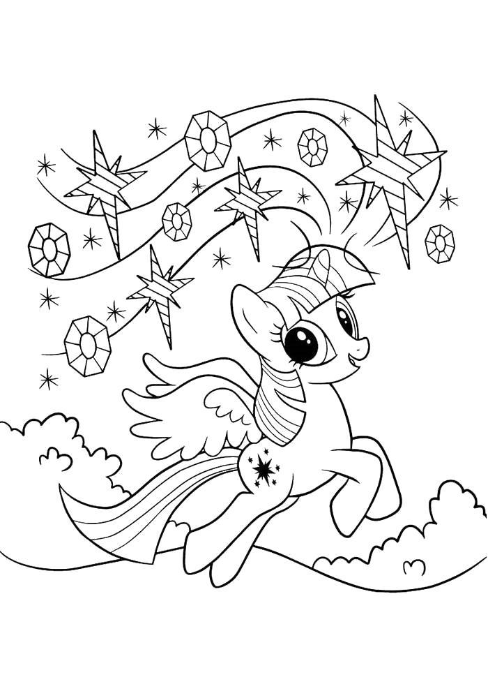 Раскраска  Искорка -дружба это чудо. Скачать Пони.  Распечатать Пони