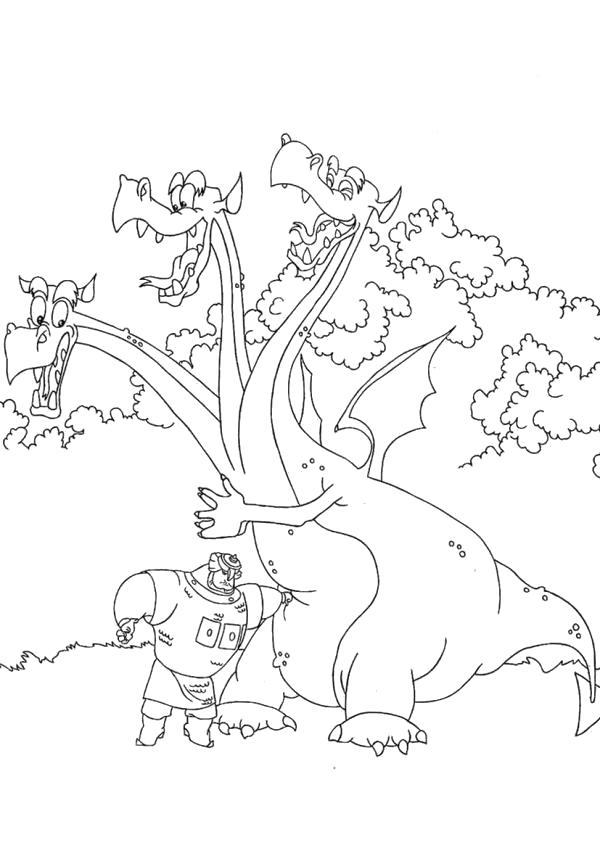Раскраска  Змей Горыныч и Тугарин Змей.  по мотивам мультиков.. Скачать три богатыря.  Распечатать герои сказок