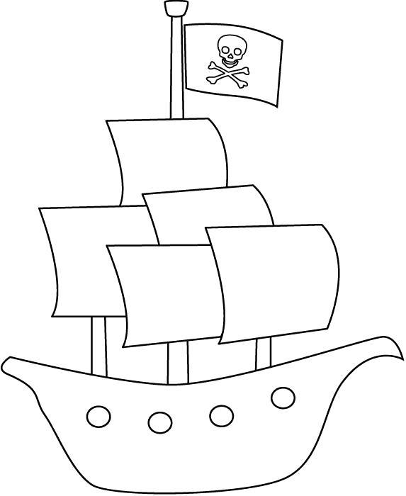 Раскраска Кораблик пиратов. Скачать корабль.  Распечатать для мальчиков