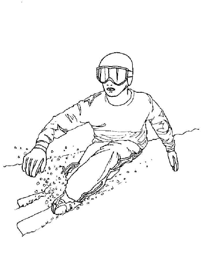 Раскраска Лыжи Зимние виды спорта мальчик спускается с горы на лыжах, . Скачать лыжи.  Распечатать лыжи