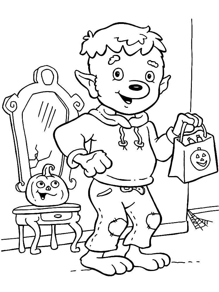 Раскраска Хеллоуин - увлекательные  для детей. Скачать .  Распечатать