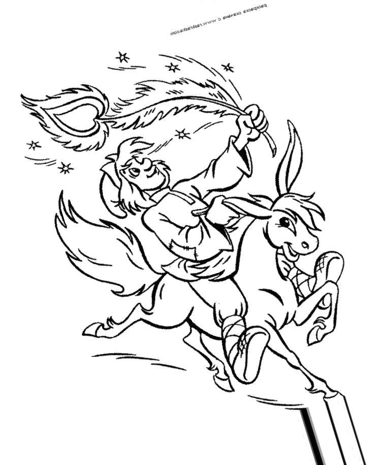 Раскраска  Конек Горбунок и Жар Птица. Скачать конек горбунок.  Распечатать конек горбунок