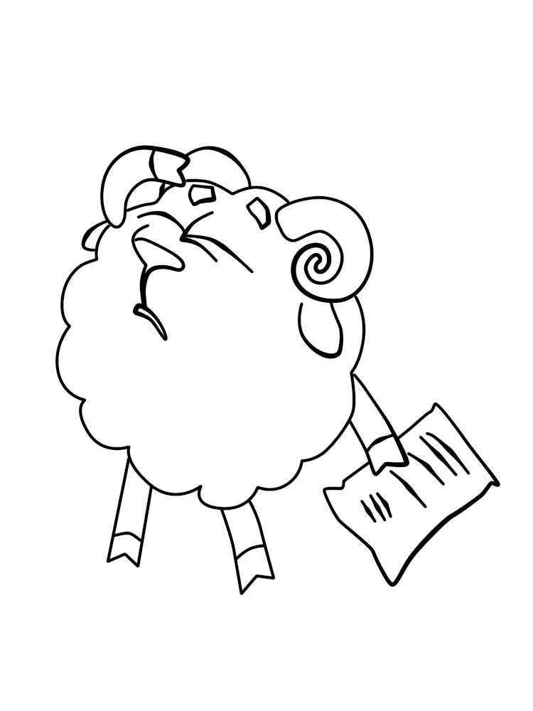 Раскраска  Бараш из Смешариков, Бараш огорчился, бараш читает письмо. Скачать Бараш.  Распечатать Бараш