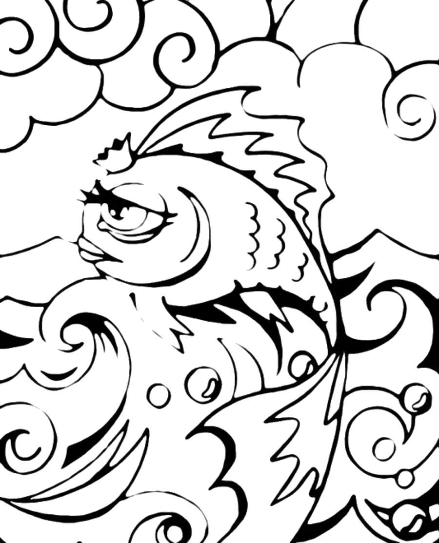 Раскраска Грустная золотая рыбка . Скачать .  Распечатать