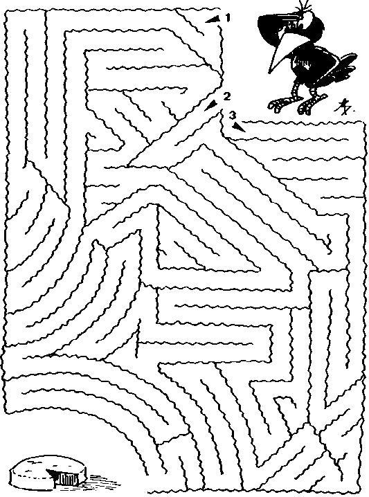 Раскраска ворона и сыр, лабиринт, развивающие игры. Скачать лабиринт.  Распечатать лабиринт