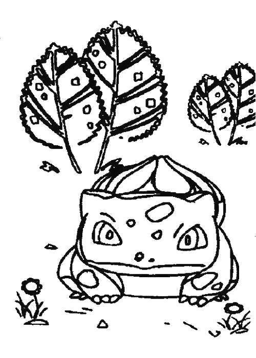 Раскраска покемон Жаба в листьях. Скачать .  Распечатать