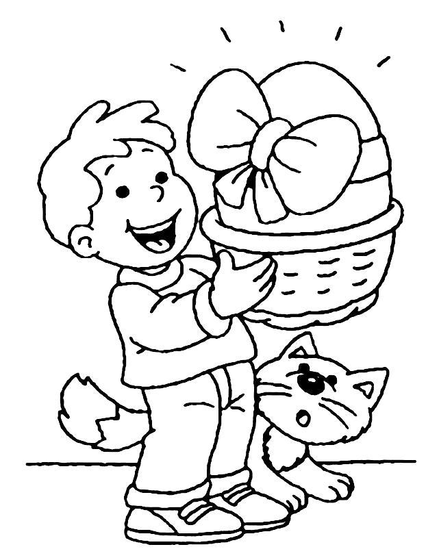 Раскраска мальчик с корзинкой и большим яйцем. Скачать на Пасху.  Распечатать на Пасху