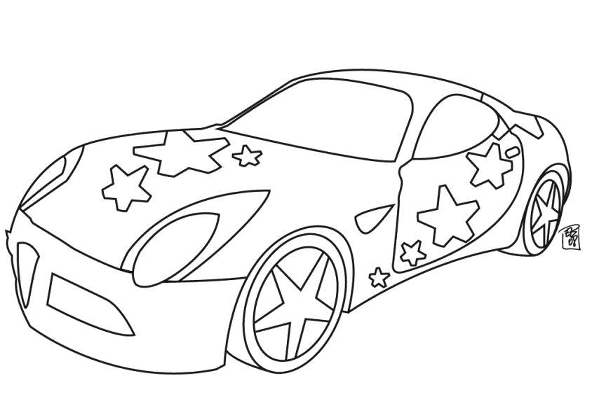 Раскраска машина со звездами. Скачать машины.  Распечатать машины