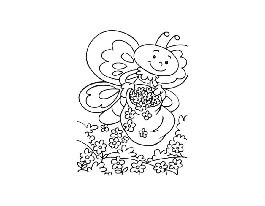 Раскраска оса сажает цветы. Скачать Весна.  Распечатать Весна