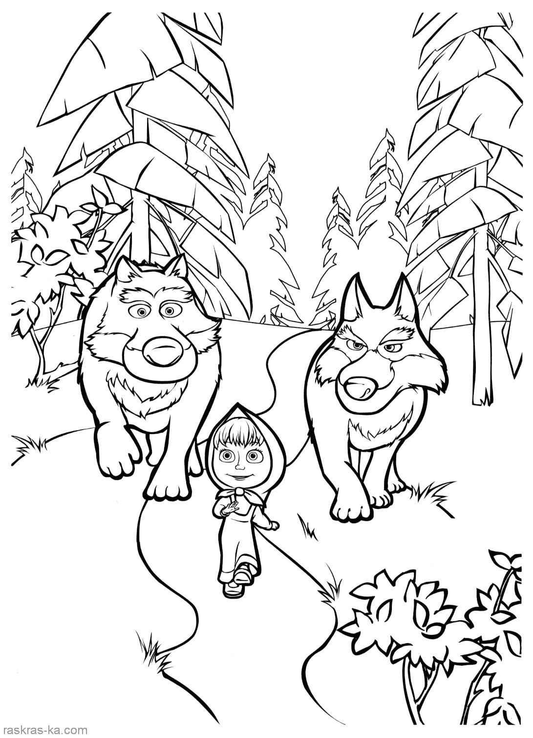 Раскраска распечатать , маша и медведь,  волки следят за машей. Скачать .  Распечатать