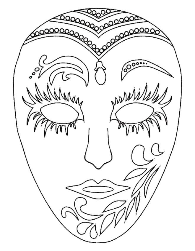 Раскраска Маскарадная маска. Скачать Карнавал.  Распечатать Карнавал