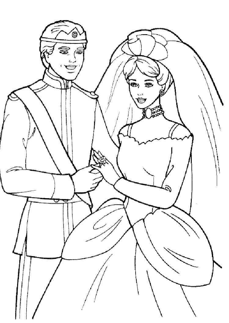Раскраска  Барби на свадьбе с кеном. Скачать барби.  Распечатать барби
