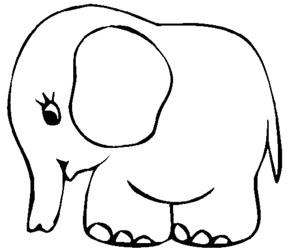 Раскраска  слоник. Скачать слон.  Распечатать Дикие животные