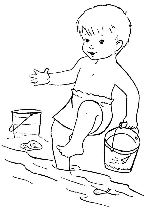 Раскраска мальчик играется с водой, мальчик и вода. Скачать Лето.  Распечатать Лето