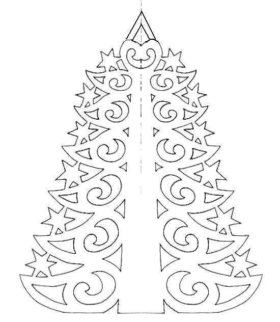 Раскраска новый год  елка шаблон на окно из бумаги. Скачать Шаблон.  Распечатать Шаблон