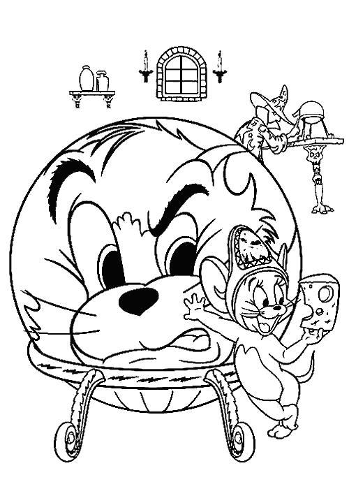 Раскраска Том в шаре. Скачать Том и Джерри.  Распечатать Том и Джерри