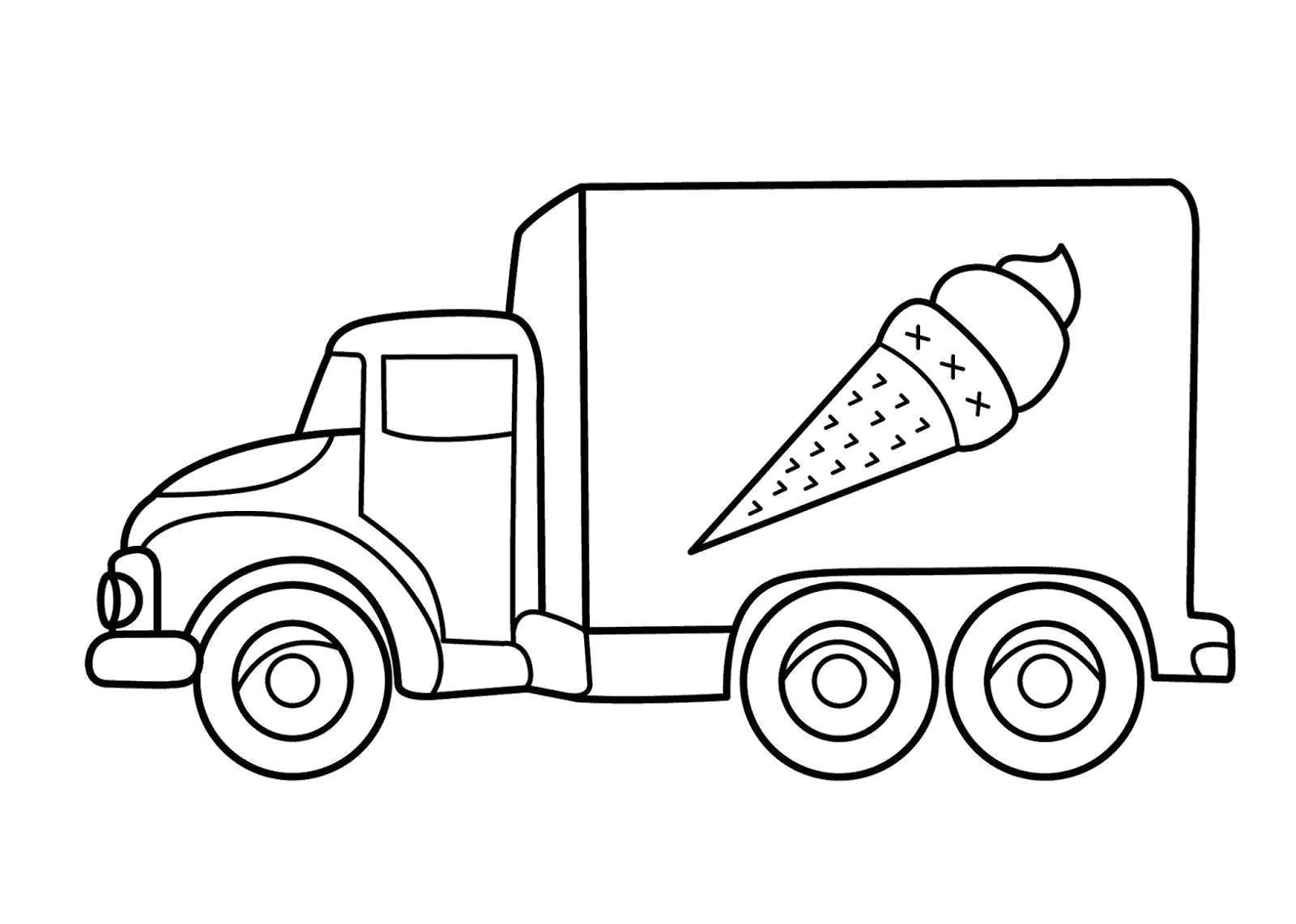 Раскраска Фургончик мороженого. Скачать Транспорт.  Распечатать Транспорт