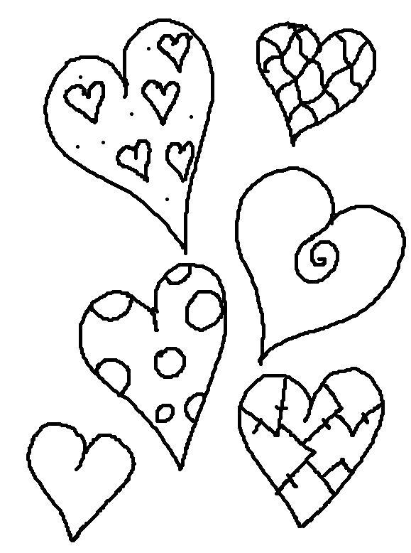 Раскраска сердечки с узорами. Скачать сердечки.  Распечатать сердечки
