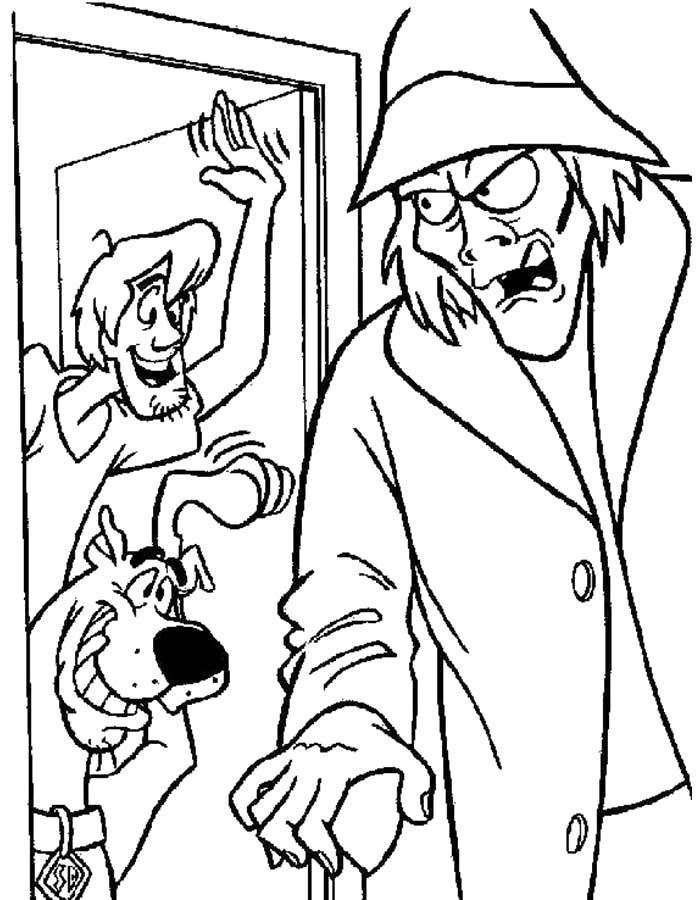 Раскраска Шегги и Скуби Ду поймали злодея. Скачать .  Распечатать